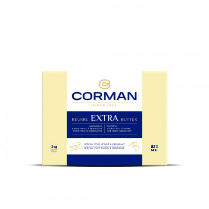 Mantega Extra 82% MG amb carotè en placa (2kg), Corman
