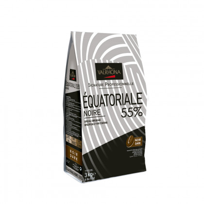 Cobertura negra Équatoriale Noire 55% (3kg), Valrhona