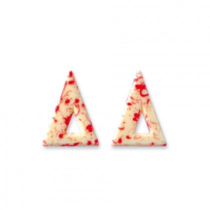 Decoració Blizzard triangle blanc/vermell (37x47mm), Dobla - 271 unitats