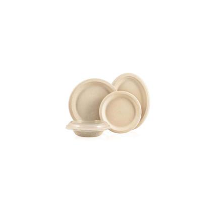 Plat Fibra oval marró 260 diàmetre 500u. Bio Line