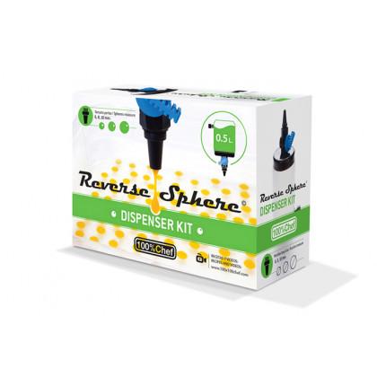 Reverse Sphere kit dispenser (dosificador 0,5 l +3 filtres Ø/6/Comentaris 8/10mm + cullera), 100% Chef