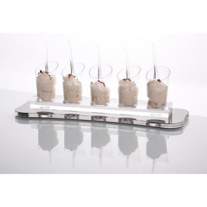 Safata base Deli plata (32x11x1cm), 100% Chef - 6 unitats
