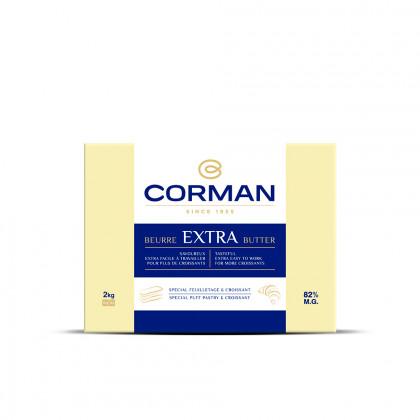 Mantequilla Extra 82% MG con caroteno en placa (2kg), Corman