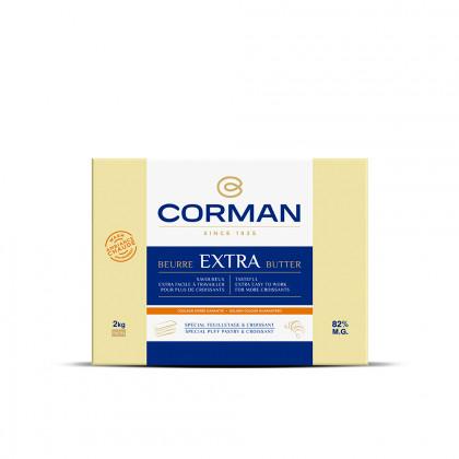 Mantequilla Extra Ambiente Cálido 82% MG con caroteno en placa (2kg), Corman