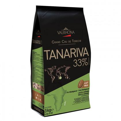 Cobertura con leche Tanariva 33% (1kg), Valrhona - 3 unidades