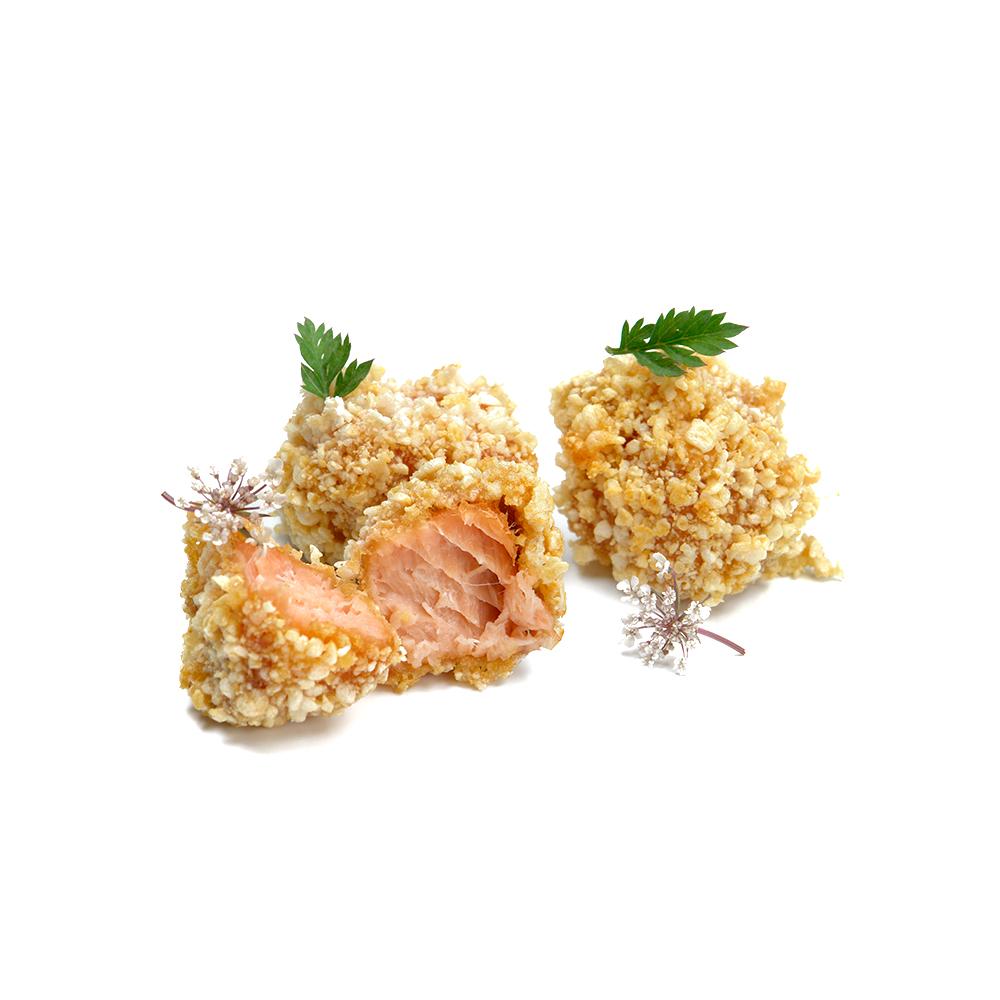 Bunyols de salmó amb cotna de porc