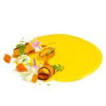 Crema de pastanaga i cítrics amb formatge fresc