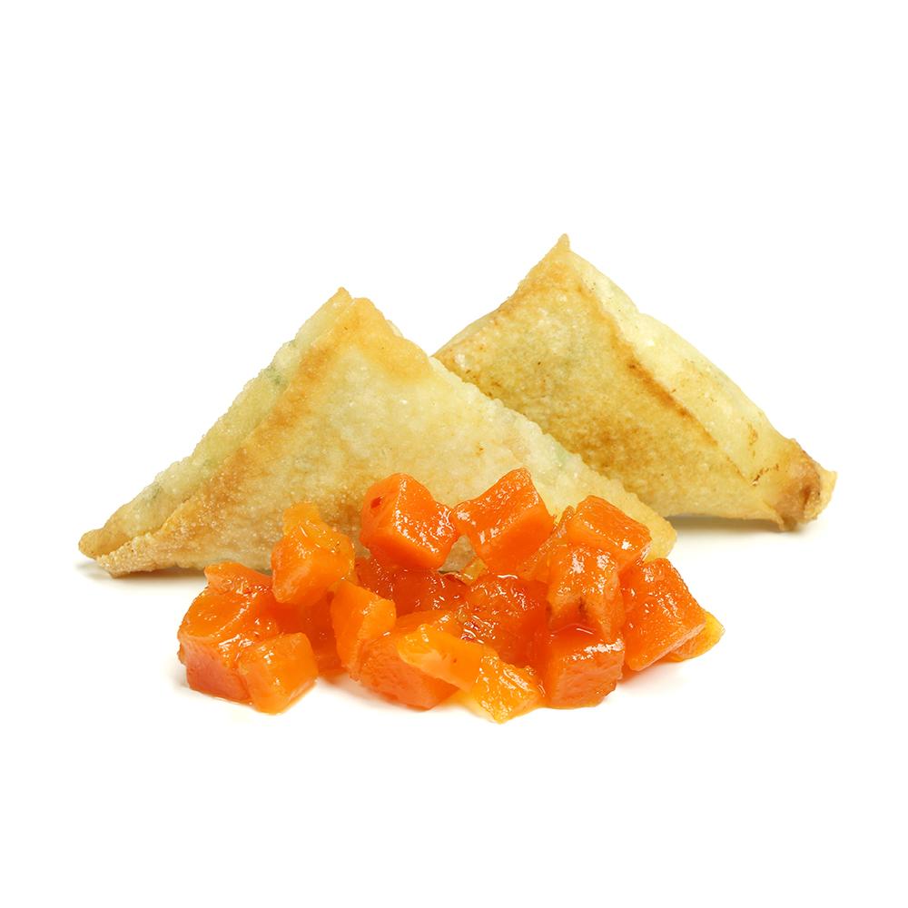 Samosa amb chutney de pastanaga