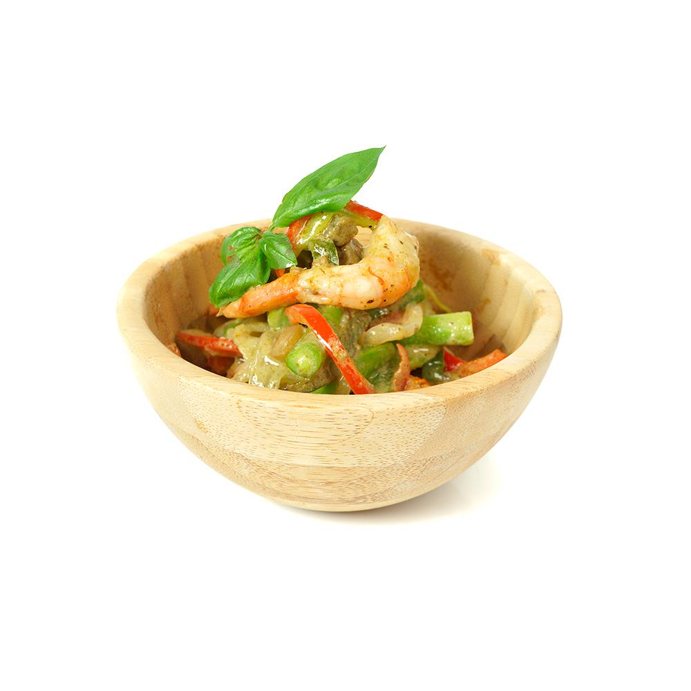 Wok de verdures i llagostins amb salsa de curri verd
