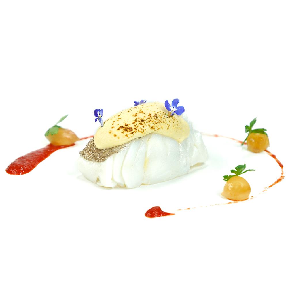 Bacallà confitat amb mussolina d'ajoblanco