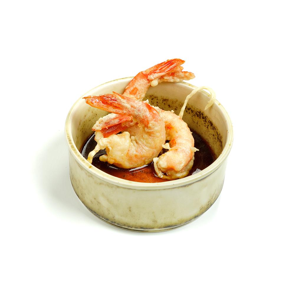 Gamba vermella en tempura amb salsa tentusyu