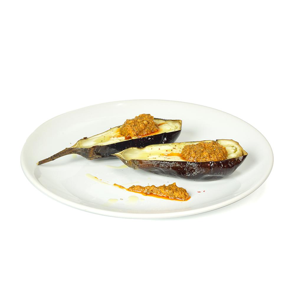 Albergínies rostides amb pesto sicilià