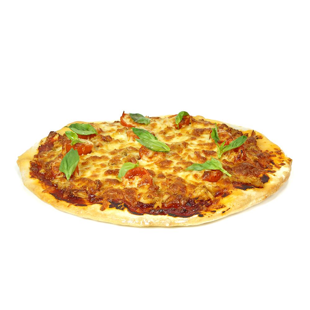 Pizza de ceba vermella amb tonyina, tomàquet, alfàbrega i mozzarella